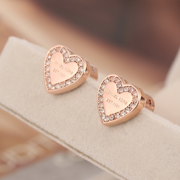 c8737d730350 Michael Kors Pave Heart Stud Earring Rose Gold. M 5b39a3fe6a0bb7a634a539db.  Other Jewelry ...